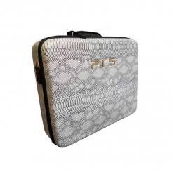 کیف حمل PS5 طرح چرم مار سفید